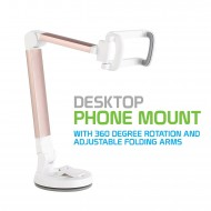 PH118ERG - DESKTOP PHONE MOUNT WITH 360 DEGREE ROTATING AND ADJUSTABLE FOLDING ARMS