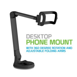 PH118EBK - DESKTOP PHONE MOUNT WITH 360 DEGREE ROTATING AND ADJUSTABLE FOLDING ARMS