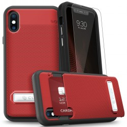 Phase Series Shockproof Cover with TG, Hidden Wallet Back and Kickstand  for iPhone X/XS