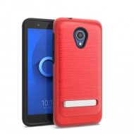 BRUSHED METALLIC W/ EDGE AND KICK FOR ALCATEL 1X EVOLVE_RED