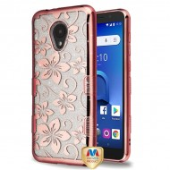 MYBATElectroplating Rose Gold Hibiscus Flower (Transparent Clear) Full Glitter TUFF Hybrid Protector Cover (with Package)
