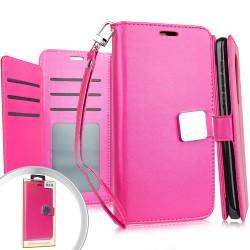 Deluxe Wallet w/ Blister Hot Pink For Alcatel 3V