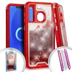 PKG 3 IN 1 Transparent Case Glitter motion Red For Alcatel 3V