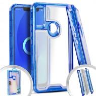 PKG 3 IN 1 Transparent Case Blue For Alcatel 3V
