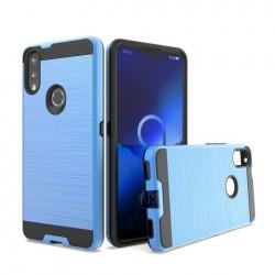 Hybrid Texture Brushed Metal case, Blue For Alcatel 3V