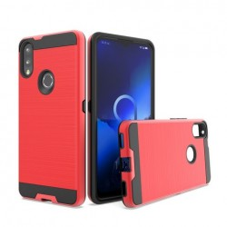 Hybrid Texture Brushed Metal case, Red For Alcatel 3V