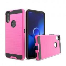Hybrid Texture Brushed Metal case, Hot Pink For Alcatel 3V