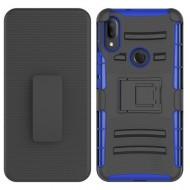 Hybrid Side Kickstand With Holster Clip - Black+Dark Blue For Alcatel 3V