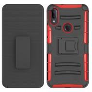 Hybrid Side Kickstand With Holster Clip - Black+Red For Alcatel 3V