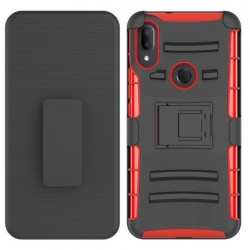 Hybrid Side Kickstand With Holster Clip - Black+Red For Alcatel 3V