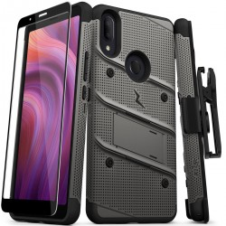 ZIZO BOLT SERIES BUILT IN KICKSTAND HOLSTER AND FULL GLASS SCREEN PROTECTOR For Alcatel 3V