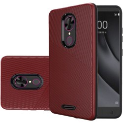 Textured Embossed Lines Hard Plastic PC TPU Hybrid for Alcatel ONYX_RED