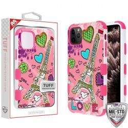 Eiffel Tower Sketch/Electric Pink TUFF Hybrid Protector Cover [Military-Grade Certified](with Package) For Iphone 11 Pro Max