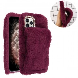 Burgundy Plush Hand Warmer Protector Cover (with Package) For Iphone 11 Pro Max