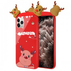 Christmas Deer Tempered Glass Backing Executive Protector Cover For Iphone 11 Pro Max