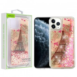 Eiffel Tower & Pink Hearts Quicksand Glitter Hybrid Protector Cover (with Package) For Iphone 11 Pro Max