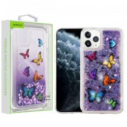Butterfly Dancing & Purple Quicksand (Hearts) Glitter Hybrid Protector Cover (with Package) For Iphone 11 Pro Max