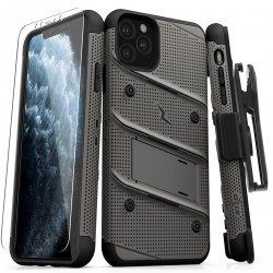 ZIZO BOLT BUILT-IN KICKSTAND BELT HOLSTER TEMPERED GLASS SCREEN PROTECTOR For Iphone 11 Pro