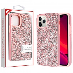 Electroplated Pink/Pink Encrusted Rhinestones Hybrid Case(with Package) For Iphone 11 Pro