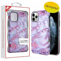 Electroplated Purple Marbling/Iron Gray Fuse Hybrid Protector Cover (with Package) For Iphone 11 Pro