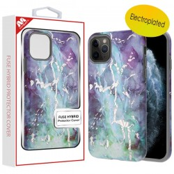 Electroplated Green Marbling/Iron Gray Fuse Hybrid Protector Cover (with Package) For Iphone 11 Pro