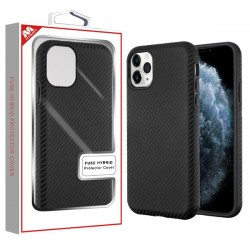 Black Carbon Fiber Texture/Black Fuse Hybrid Protector Cover (with Package) For Iphone 11 Pro