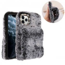 Dark Grey Plush Hand Warmer Protector Cover (with Package) For Iphone 11 Pro