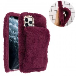 Burgundy Plush Hand Warmer Protector Cover (with Package) For Iphone 11 Pro