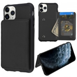 Black Flip Wallet Executive Protector Cover(TPU Case with Snap Fasteners)(with Package) For Iphone 11 Pro