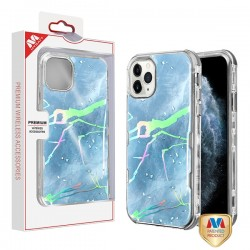 Blue Marbling/Electroplating Silver TUFF Kleer Hybrid Case (with Package) For Iphone 11 Pro