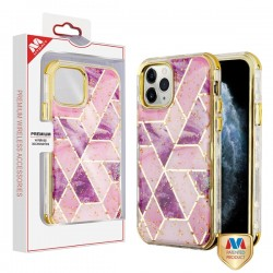 Electroplated Purple Marble/Electroplating Gold TUFF Kleer Hybrid Case (with Package) For Iphone 11 Pro