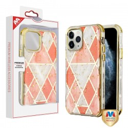 Electroplated Pink Marble/Electroplating Gold TUFF Kleer Hybrid Case (with Package) For Iphone 11 Pro