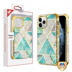 Electroplated Green Marble/Electroplating Gold TUFF Kleer Hybrid Case (with Package) For Iphone 11 Pro