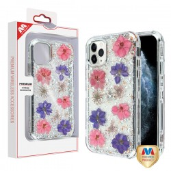 Pink and Purple Flowers & Silver Flakes/Electroplating Silver Real Flowers TUFF Kleer Hybrid Case (with Package) For Iphone 11 Pro