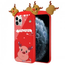 Christmas Deer Tempered Glass Backing Executive Protector Cover For Iphone 11 Pro