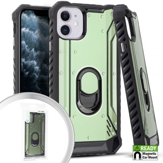 Metal Jacket Ring Stand ICE GREEN For Iphone 11
