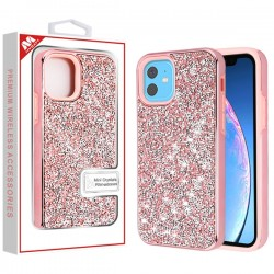 Electroplated Pink/Pink Encrusted Rhinestones Hybrid Case(with Package) For Iphone 11