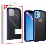 Semi Transparent Smoke Frosted/Rubberized Ink Blue Frost Hybrid Protector Cover (with Package) For Iphone 11