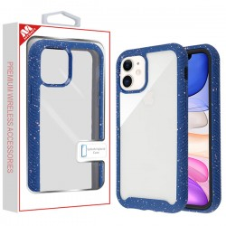 Highly Transparent Clear/Blue Splash Hybrid Case (with Package) For Iphone 11