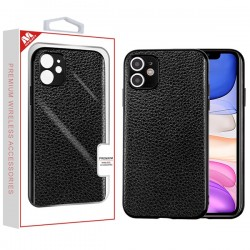 Black Electroplating & Leather Backing Protector Cover (with Package) For Iphone 11