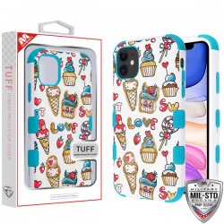 Dessert Frenzy/Tropical Teal TUFF Hybrid Protector Cover [Military-Grade Certified](with Package) For Iphone 11