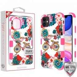 Bicycle Garden/Electric Pink TUFF Hybrid Protector Cover [Military-Grade Certified](with Package) For Iphone 11