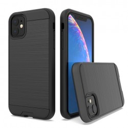 Hybrid Texture Brushed Metal case, Black For Iphone 11
