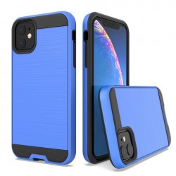 Hybrid Texture Brushed Metal case, Blue For Iphone 11