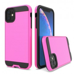 Hybrid Texture Brushed Metal case, Hot Pink For Iphone 11