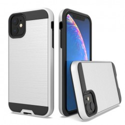 Hybrid Texture Brushed Metal case, Silver For Iphone 11