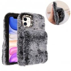 Dark Grey Plush Hand Warmer Protector Cover (with Package) For Iphone 11