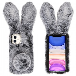 Dark Grey Cute Plush Cartoon Rabbit Protector Cover (with Package) For Iphone 11