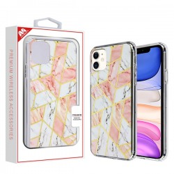 Electroplated Pink Marbling Fusion Protector Cover (with Package) For Iphone 11
