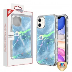 Blue Marbling/Electroplating Silver TUFF Kleer Hybrid Case (with Package) For Iphone 11